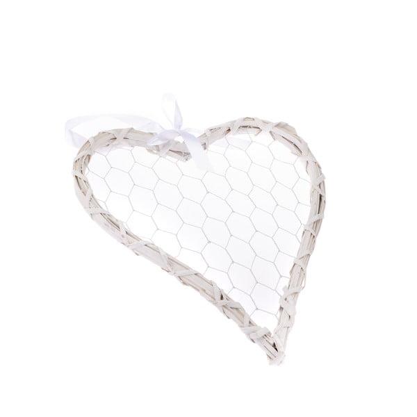 Bílé dekorativní závěsné srdce Dakls Rattano Heart Quatro