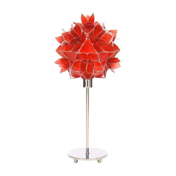 Perleťová stolní lampa Lotus, červená