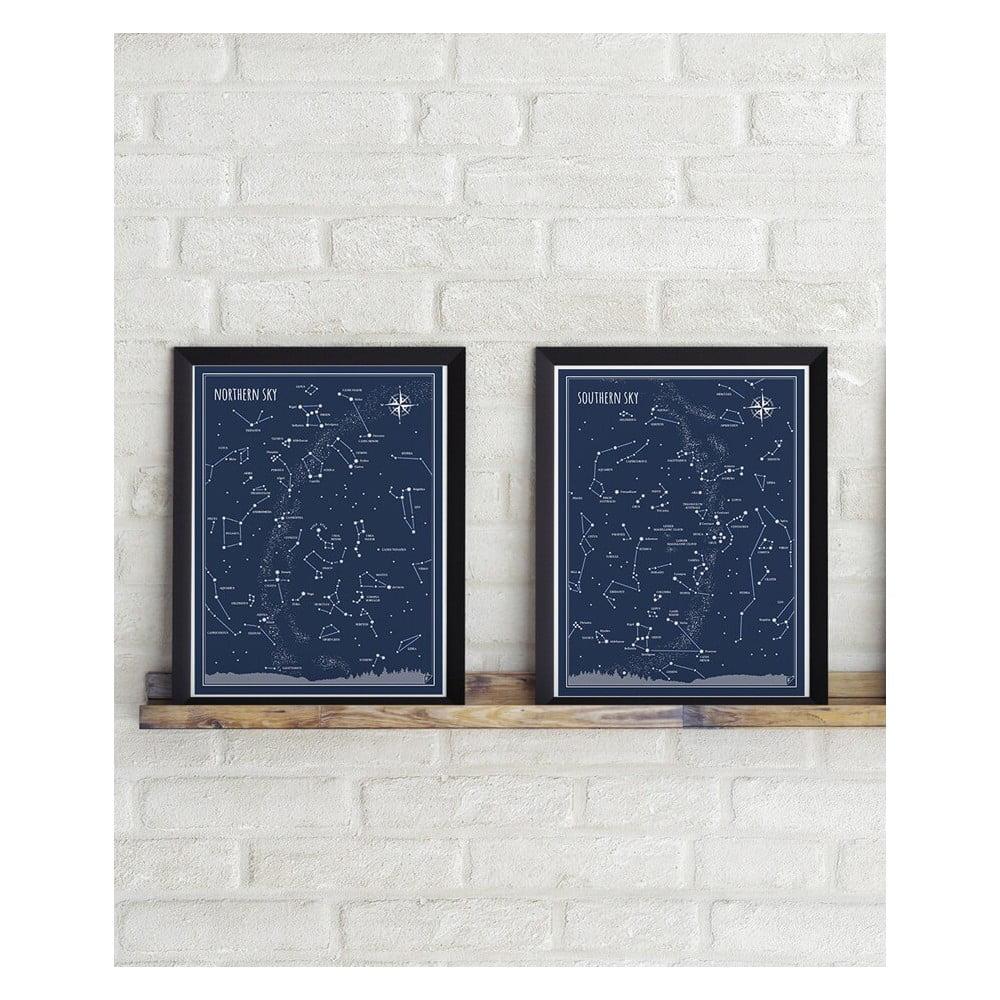 Sada 2 plakátů Follygraph Little & Big Astronomer Blue, 30 x 40 cm