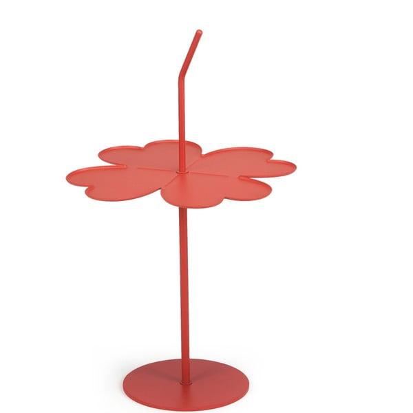 Korálově červený odkládací stolek Garageeight A Four Leaf