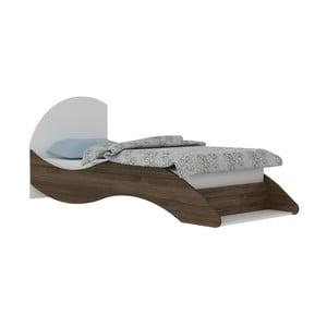 Jednolůžková postel v dekoru ořechového dřeva Leni, 90 x 210 cm