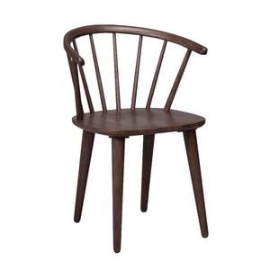 Tmavě hnědá jídelní židle ze dřeva kaučukovníku Rowico Carmen