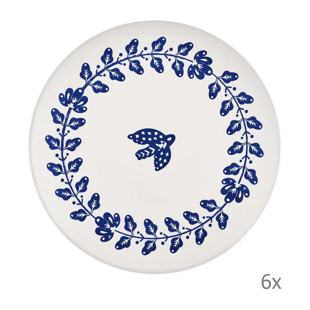 Sada 6 bílo-modrých porcelánových talířů Mia Bloom, ⌀ 26 cm