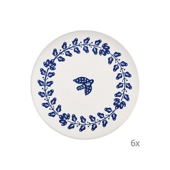 Set 6 farfurii din porțelan Mia Bloom, ⌀ 26 cm, alb -albastru imagine
