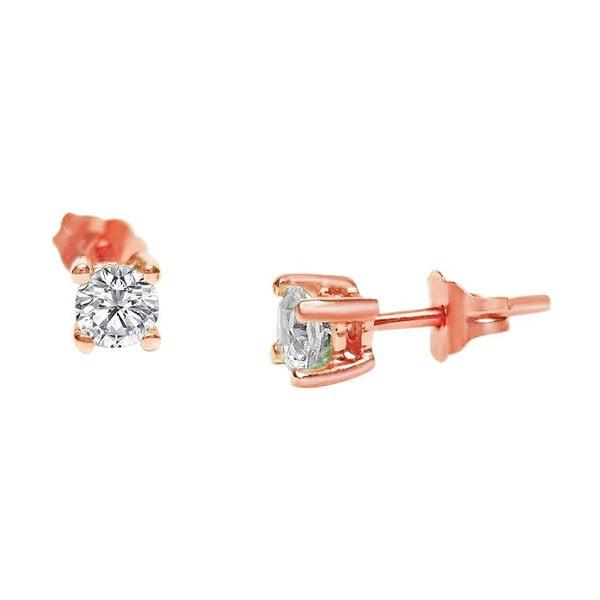 Náušnice Four Prong s diamantem, růžové zlato
