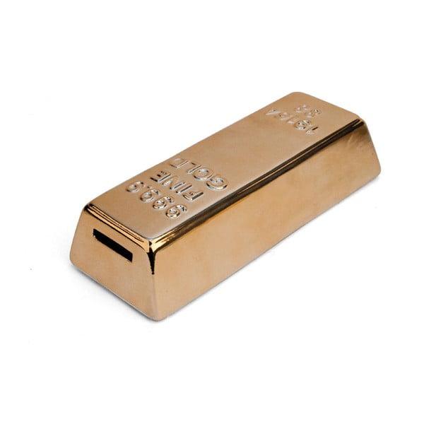 Pușculiță din ceramică Kikkerland Gold Bar, auriu