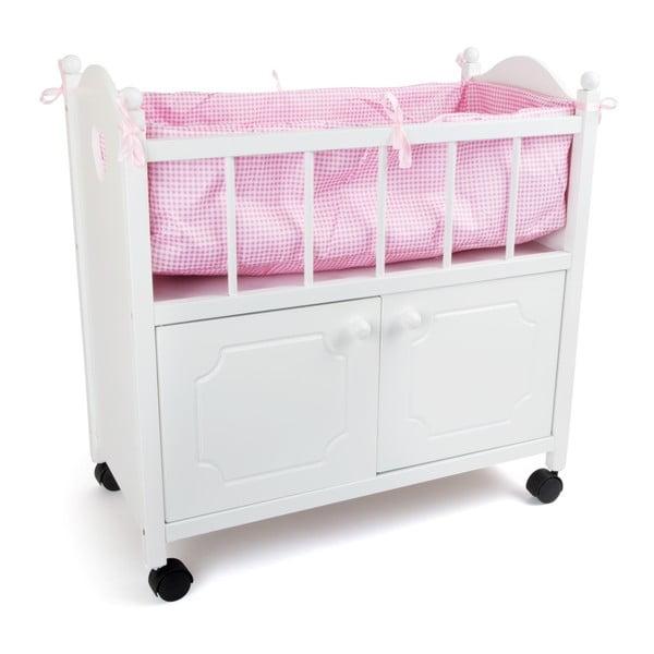 Drewniane łóżeczko dla lalek ze schowkiem Legler Wardrobe