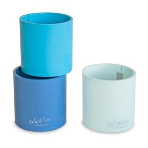 Set 3ks magnetických květináčů Cylinder Blue, střední