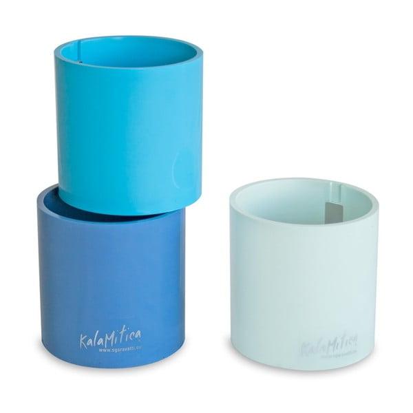 Set 3ks magnetických květináčů Cylinder Blue, velký