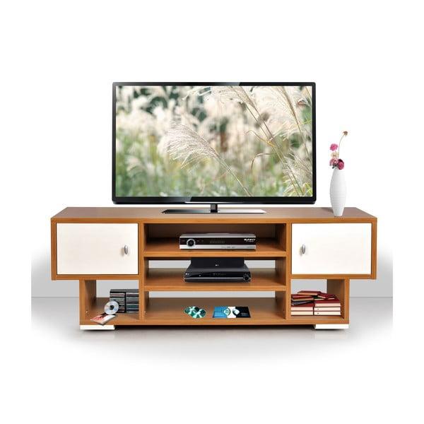 Televizní stolek Uno, krémový/bambus