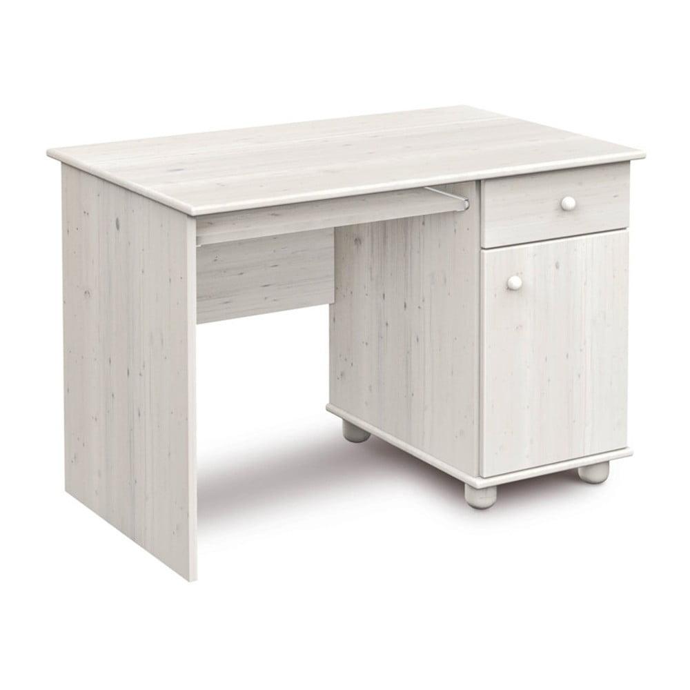 Bílý psací stůl z borovicového dřeva Faktum Tomi