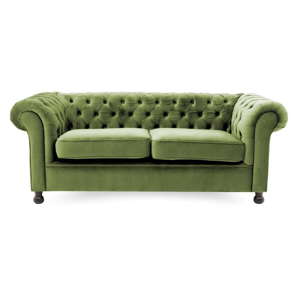 Olivově zelená pohovka pro tři Vivonita Chesterfield Vivonita 4251194913430