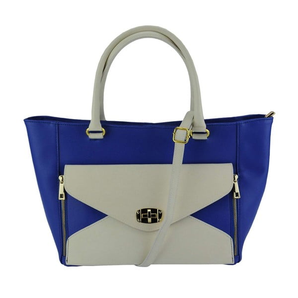 Kožená kabelka Monica Blue & Cream