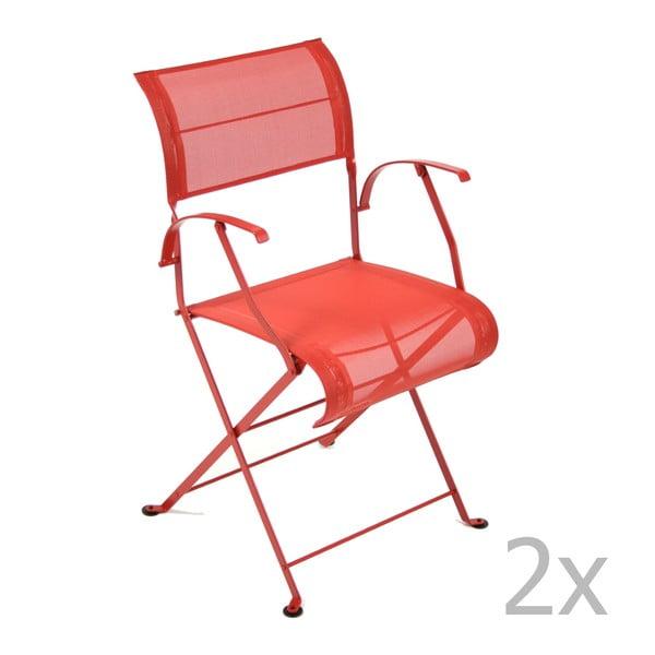 Sada 2 červených skládacích židlí s područkami Fermob Dune