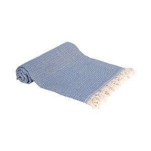 Modrá ručně tkaná osuška Ivy's Emel, 100x180cm