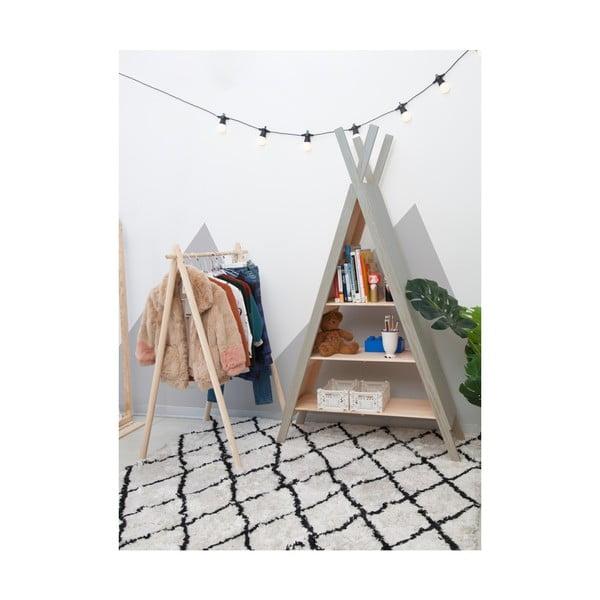 Šedá dětská knihovna zborovicového dřeva Little Nice Things Teepee