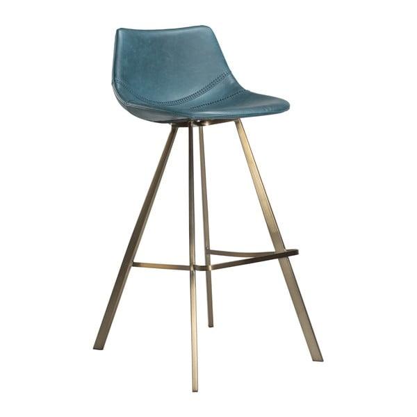 Modrá barová židle s ocelovým podnožím ve zlaté barvě DAN–FORM Pitch
