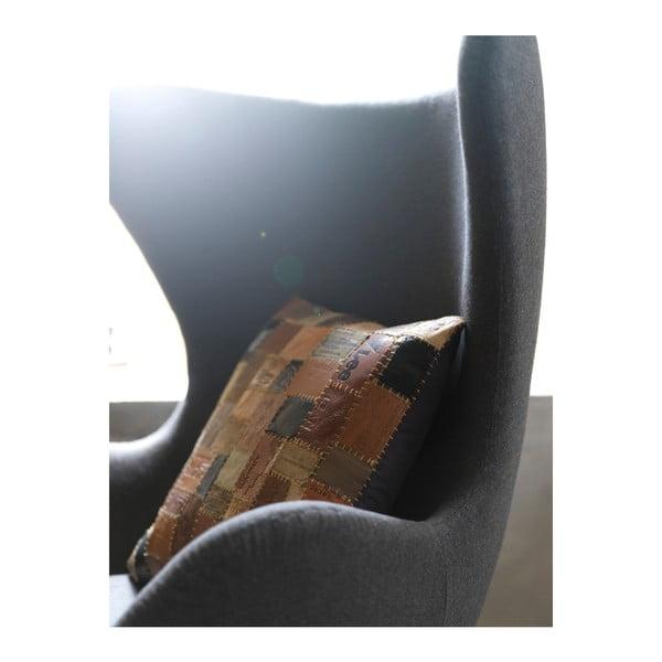 Pernă din piele Fuhrhome New Orleans, 45 x 45 cm, maro