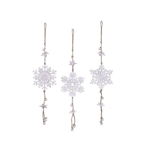 Zestaw 3 wiszących dekoracji świątecznych w kształcie śnieżynki Ego Dekor