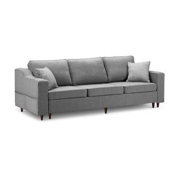 Canapea extensibilă cu 3 locuri și spațiu de depozitare Mazzini Sofas Narcisse, gri închis imagine