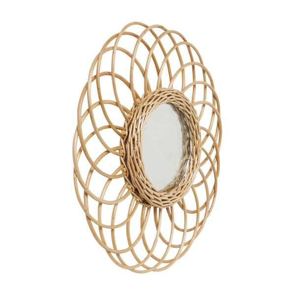 Oglindă cu ramă din ratan Kare Design Swing, Ø 34 cm