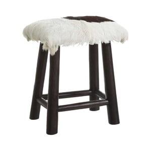 Černá stolička z recyklovaného teakového dřeva s kožešinovým sedákem Denzzo Genet