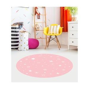 Růžový dětský koberec Floorart Stars, ⌀ 100 cm