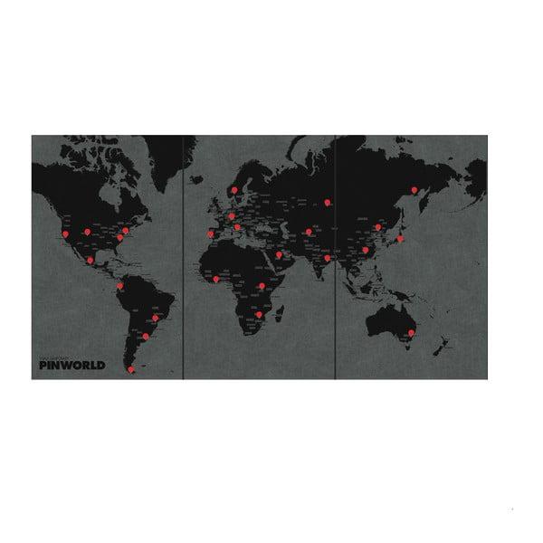 Hartă a lumii de perete Palomar Pin World XL, 198 x 124 cm, negru