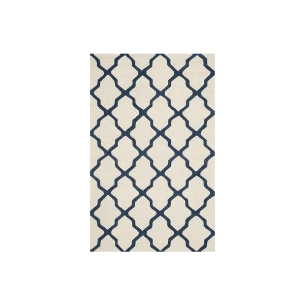 Vlněný koberec Ava 152x243 cm, bílý/modrý