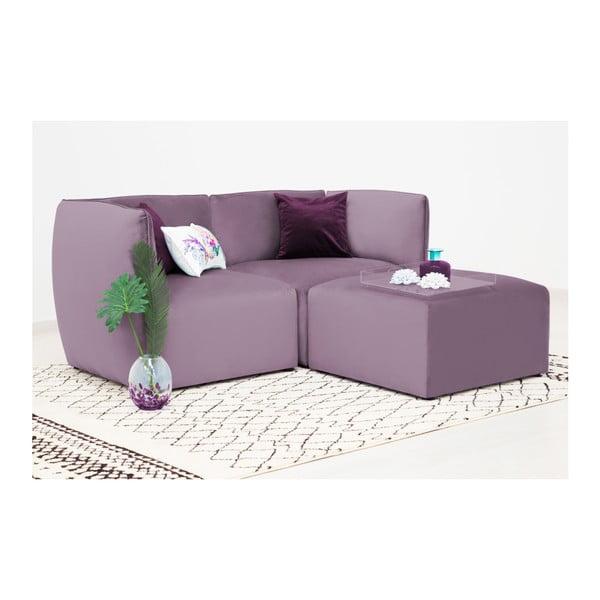 Lila fialová dvoumístná modulová pohovka s podnožkou Vivonita Velvet Cube