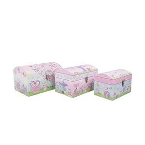 Sada 3 úložných krabic Owls