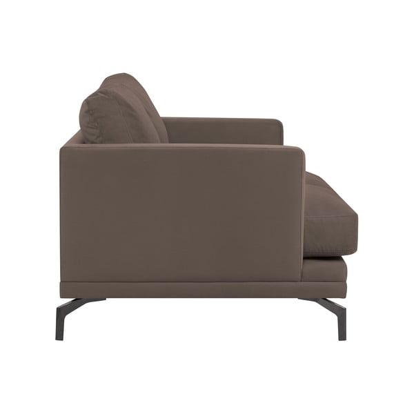 Hnědá dvojmístná pohovka s podnožím v černé barvě Windsor & Co Sofas Jupiter