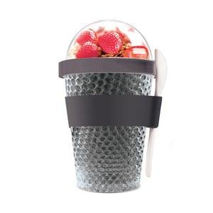 Černý termokelímek na jogurt Asobu Chill Yo 2 Go, 380 ml