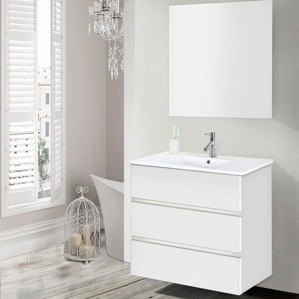 Koupelnová skříňka s umyvadlem a zrcadlem Nayade, odstín bílé, 70 cm