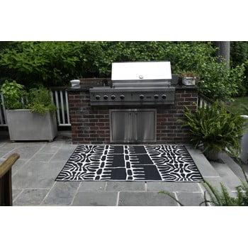 Covor reversibil potrivit pentru exterior, din plastic reciclat Fab Hab Serowe Black, 90 x 150 cm, negru