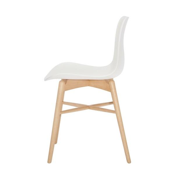 Bílá jídelní židle z masivního bukového dřeva NORR11 Langue Natural
