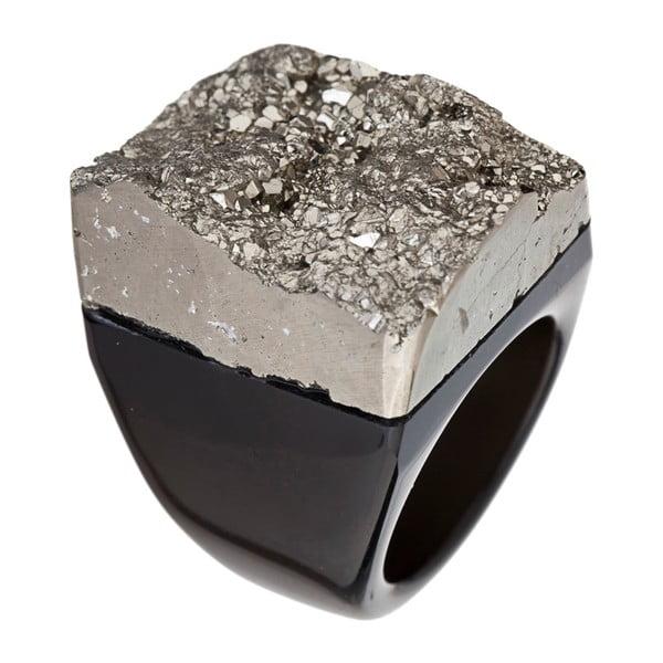 Prsten z pyritu a achátu Decadorn, vel. M