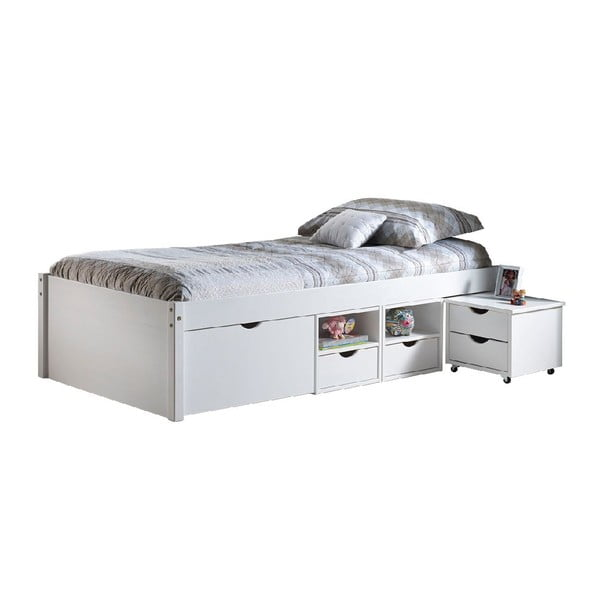 Bílá dřevěná postel s úložným prostorem 13Casa Leon, 90x200cm