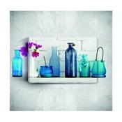 Nástěnný 3D obraz Mosticx Blue Bottles With Flowers, 40 x 60 cm