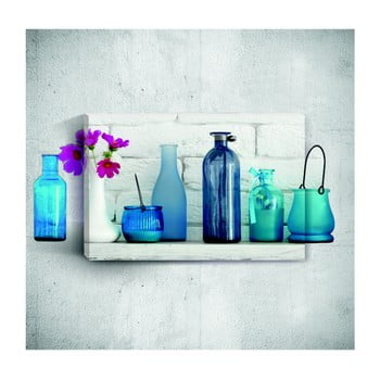 Tablou de perete 3D Mosticx Blue Bottles With Flowers, 40 x 60 cm