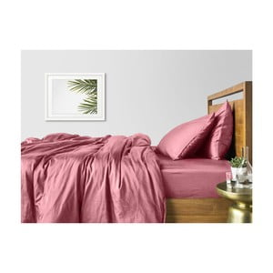 Sada 2 růžových bavlněných povlečení na jednolůžko s růžovým prostěradlem COSAS Lago, 160 x 220 cm
