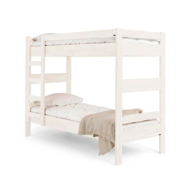 Biela ručne vyrobená poschodová posteľ z masívneho brezového dreva Kiteen Kuusamo, 80 × 200 cm