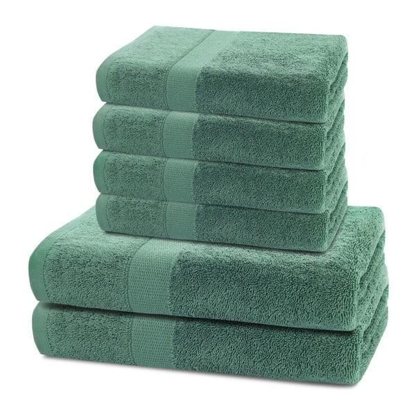 Set 2 zelených osušek a 4 ručníků DecoKing Marina