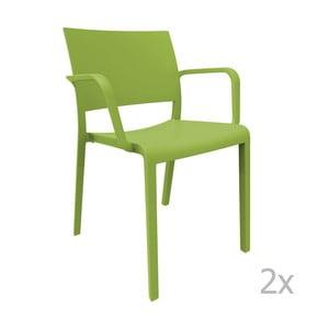 Sada 2 zelených zahradních židlí s područkami Resol Fiona