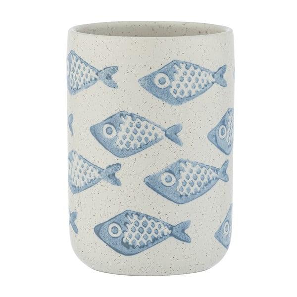 Modro-bílý keramický kelímek na kartáčky Wenko Aquamarin