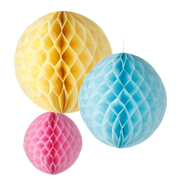 Papírové dekorace Honeycomb Pastel, 3 kusy