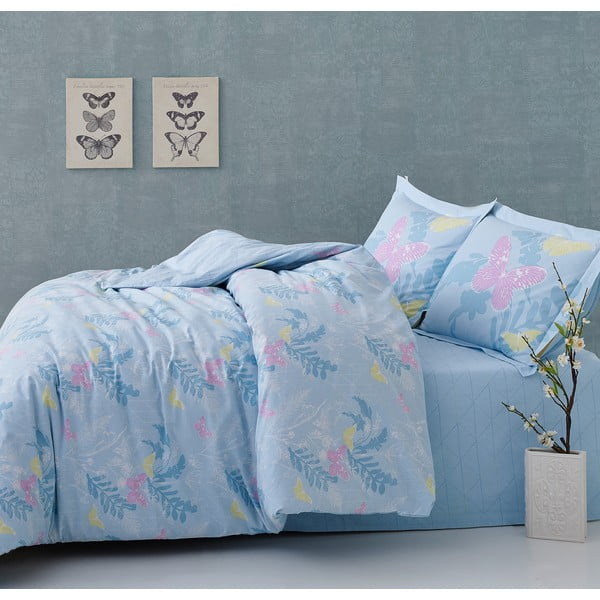 Povlečení Blue Butterflies s prostěradlem, 160x220 cm