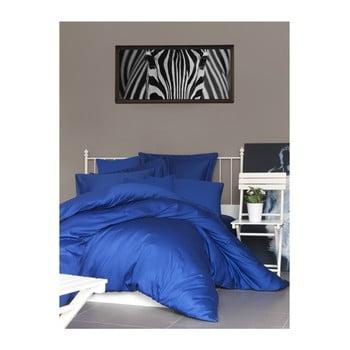 Lenjerie de pat din bumbac satinat și cearșaf The Dark Blue, 200 x 220 cm de la Unknown