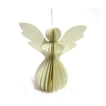Decorațiune din hârtie pentru Crăciun, formă înger Only Natural, 12,5 x 7,5 cm, gri deschis imagine