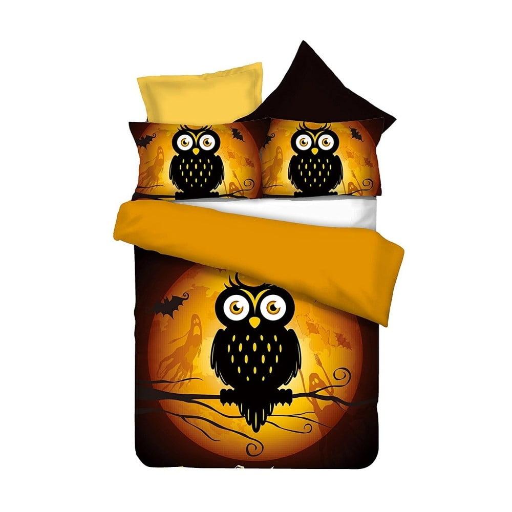 Oboustranné povlečení z mikrovlákna DecoKing Owls Ghoststory, 135 x 200 cm